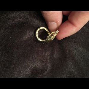 Gold hoop earrings with crystal accents